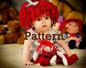 Baby Hat Raggedy Ann wig PATTERN Cabbage Patch Hat P A T T E R N.  Crochet Hat baby girl Halloween costume photo prop baby wig  PDF