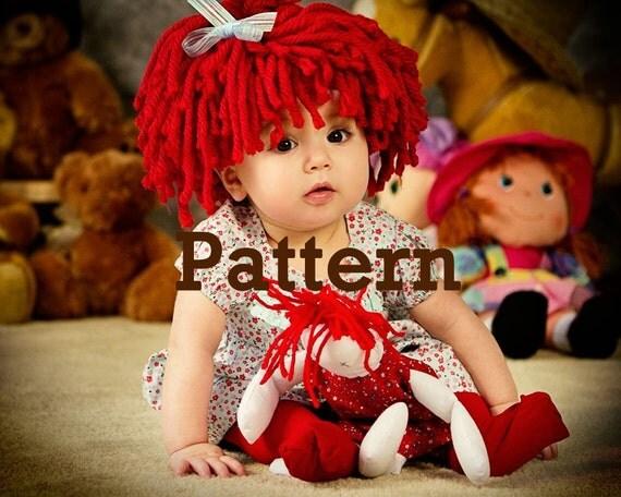 Free Crochet Baby Wig Hat Pattern : Baby Hat Raggedy Ann wig PATTERN This is a P A T T E R N.