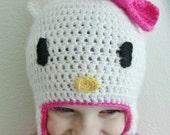 Hello Kitty Crochet Beanie Earflap Custom