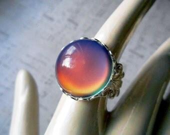 Mood Ring Silver Filigree Adjustable