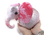 Baroness Silverose: Fluffy Bottom Elephant--silver and pink kawaii art plush stuffed animal elephant