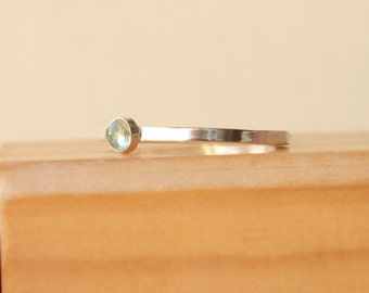 Aquamarine Stacking Ring, Sterling Silver, March Birthstone Jewelry