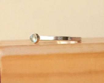 Aquamarine Stacking Ring - Silver Birthstone Ring - March Birthstone Jewelry - Blue Aquamarine Gemstone Solitaire - Stacking Birthstone Ring