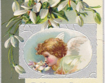 Happy Easter Angel- 1900s Antique Card- Edwardian Decor- White Flowers- Winged Cherub- Paper Ephemera- Used