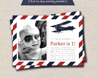 Vintage Airplane Invitation | Vintage Airplane Invite - red and navy | Aviator Invitation | Aviator Invite | Airplane Party
