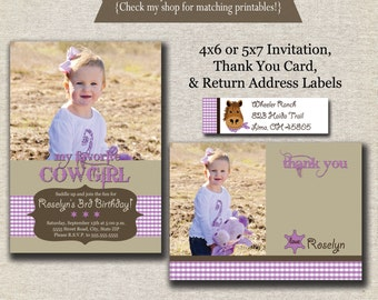 Cowgirl Invitation - Thank You Card - Return Address Labels - purple | Cowgirl Birthday Party Printables | Western Birthday Party Printables