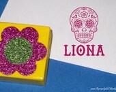 Sugar Skull Children's Personalized Gift Custom Kids Name Stamp Day of the Dead Skull Cute Skull Name Label Book of Life Glitter Skull