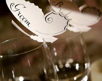25 Place Cards, Butterfly Themed Wedding, Decor for Wine Glass, Event, Original calligraphy, Cutout, Scrapbook, Papercut by Naboko