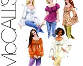 Boho Tops and Tunics Pattern Uncut McCalls M5050 Easy To Sew Gypsy Peasant Tops Scoop Neck Ruffled Bell Sleeves Womens Sewing Pattern