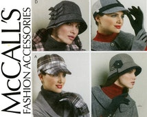 Womens Hats and Gloves Pattern Uncut McCalls M6450 Vintage Style Brimmed Cloche Visor Caps Driving Gloves Womens Millinery Sewing Patterns
