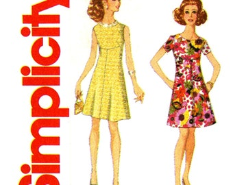 1960s Dress Pattern Uncut Simplicity 3833 Empire Waist A Line Color Block Mini Evening Cocktail Dress Mod Era Womens Vintage Sewing Pattern