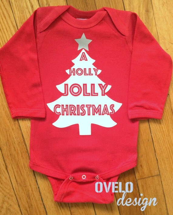 A holly Jolly Christmas Bodysuit printed in White with Silver Star
