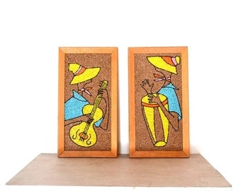 Stone Mosaic Wall Hangings 60s Vintage Handmade Crushed Marble Mosette Tribal Southwestern Musicians