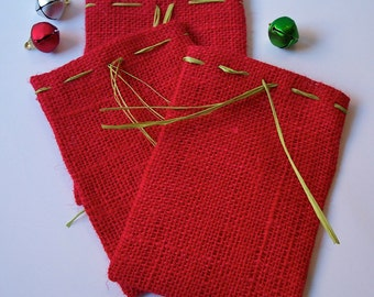 Red Burlap Gift Bags, Set Of Three Ready To Ship Burlap Gift Bags