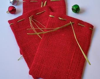 Red Burlap Gift Bags, Burlap Bags, Set Of Three Ready To Ship Burlap Gift Bags
