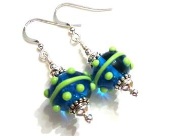 Teal & Green Lampwork Earrings, Teal Earrings, Green Earrings, Lampwork Jewelry, Teal Lampwork Earrings