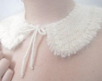 Angora Sweater Necklace - Vintage Angora Pearl Bib Necklace - Winter Bridal Necklace - Angora Collar Necklace - Angora Statement Necklace