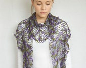 Silk Variegated Flower Lace Shawlette/Scarf