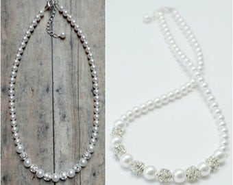 Pearl Wedding Necklace, Bridal Jewelry, Bride Necklace, Pearl Bride Jewelry, Pearl Wedding Jewelry, Bridal Necklace, Single Strand Pearls