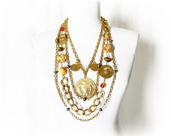 Vintage 60s Necklace Multi Chain Layering Les Bernard Coins Stones Chunky Runway