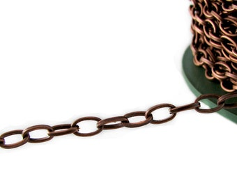 Copper Chain : 10 Feet Antique Copper Oval Chain / Copper Ox Cable Chain .. 4.4 x 7.6 x 1.2mm ... Lead, Nickel & Cadmium Free 93951