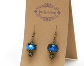 Dramatic, metallic blue glass bead earrings with filigree - special holiday price!  gifts under 10