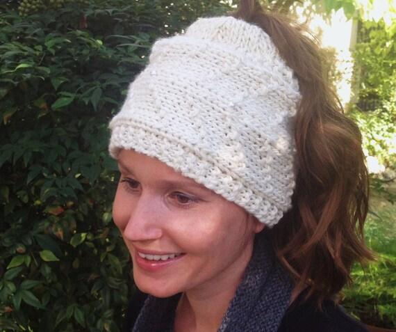 Items similar to The Noelle Hat, Knitting Pattern, Ponytail Hat, Women ...