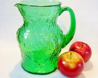 Vintage Glass Pitcher EMERALD Green ORGANIC Design Iced Tea Lemonade MORGANTOWN Ockner Crinkle