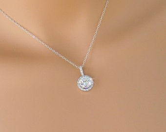 Dainty Bridal Necklace, Rose Gold, Swarovski Bridal Necklace,  Round Halo Bridal Jewelry SET, Wedding jewellery,  Reese Halo Necklace