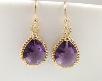 Purple Bridesmaids Earrings - Gold Teardrop Amethyst February Birthstone Earrings Christmas Wedding Gift Under 25