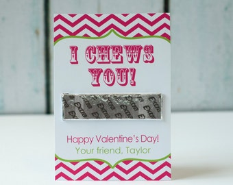 Printable Chewing Gum Valentine: I Chews You!