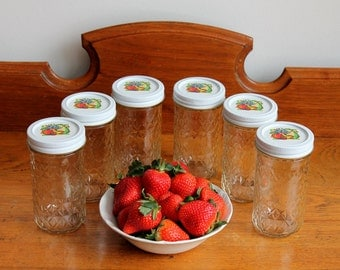 6 Retro Ball Jam & Jelly Jars w/FRUIT on Lids - 12 Ounce Quilted  - Canning Jam Jelly Jars - Craft Supply Jars - Insurance w/Shipping