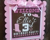 Personalized Door Sign: Wanted Pink Cowgirl -Party Sign -Hanging Sign -Baby Shower -Birthday-1st Birthday -Western -Pink Gingham