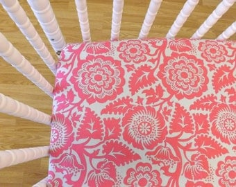 Crib Sheet- Baby Sheet- READY to SHIP- Girl Crib Sheet-Crib Sheet- Cotton Crib Sheet- Floral Sheet in Fuchsia and Gray