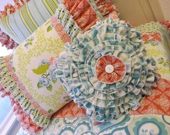 Twin Size Garden District Bedding- Quilt Shams Accent Pillow- Bird Bedding