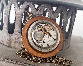 Industrial Chic  - Vintage Watch Movement with Wood & Swarovski, Steampunk Senstion
