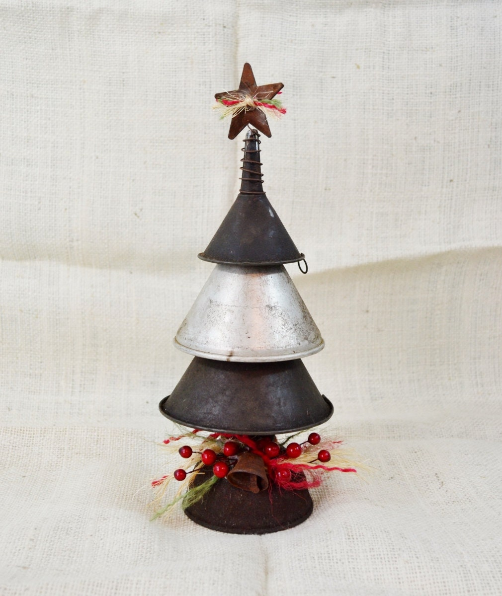 Small Metal Vintage Funnel Christmas Tree Decoration Rustic