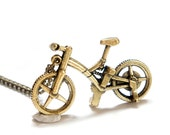SALE Vintage Style Bike Bicycle Necklace - Antiqued Brass - Gift Idea