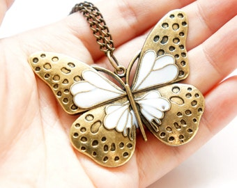SALE White Pattern Butterfly Long Necklace