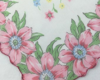 Vintage 1950s Handkerchief Hanky printed flowers nylon pink blue yellow flowers scalloped edge