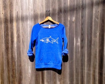 Swimming in the Deep End Shark Sweatshirt, Shark Shirt, Yoga Pullover, Off Shoulder Top, S,M,L,XL,XXL