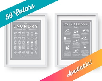 Laundry room decor, SET, symbols and Stain Removal prints, laundry room sign, art, laundry room printable, wedding gift, housewarming gift