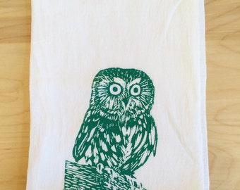 SALE: Owl Screen Printed Tea Towel Turquoise