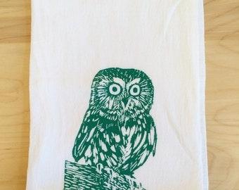 Owl Screen Printed Tea Towel Turquoise