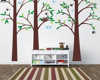 """Tree Wall Decals Playroom Vinyl Wall Decors Office Removable Tree Wall Stickers- Three Big Trees (102"""" H) - Designed by Pop Decors pt0251"""