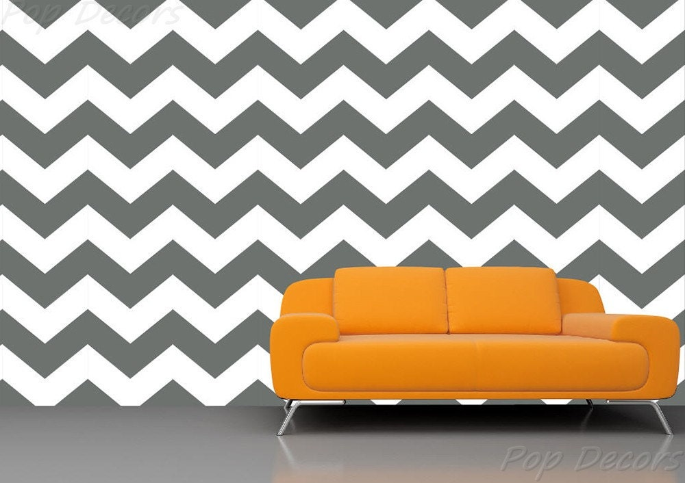 Chevron Wallpaper 01- Baby Boys Nursery ZigZag Wallpapers Removable Fabric Seamless Wall Decals Modern Office