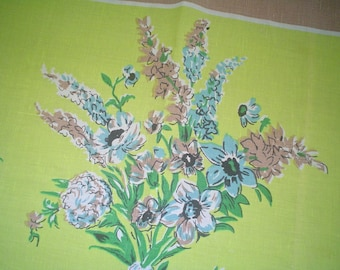 Linen Tablecloth Styled in Paris Chartreuse with Bouquet of Flowers Print