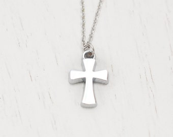 silver cross necklace, best friend gift, friendship necklace, sorority, bridesmaid necklace, faith, religion, baptism, holiday, christian