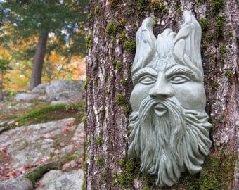 Green Man, Garden Decor Hanging Face, Blowing Tree Spirit, Wind Elemental,  Concrete