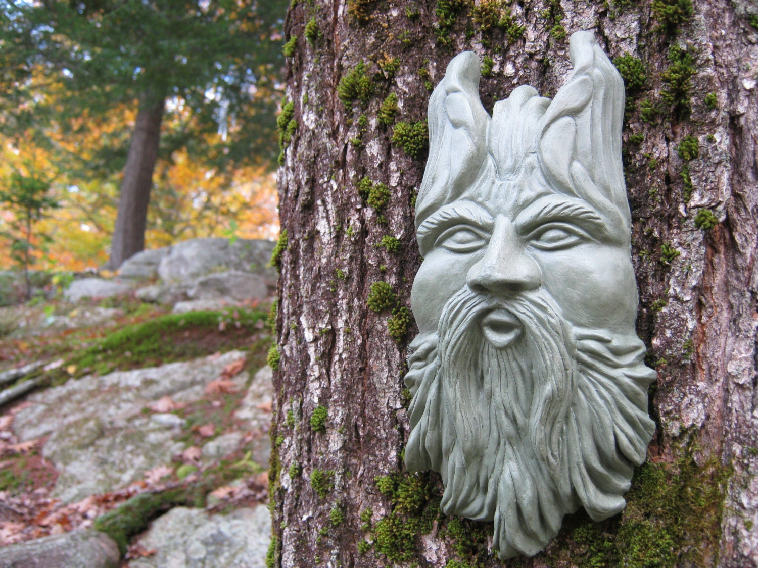 Green man garden decor hanging face blowing tree spirit for Tree decorations for garden
